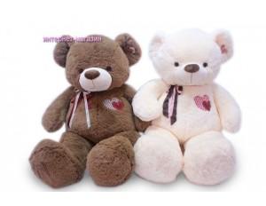 Медведь с ленточкой и вышитым сердцем 2цв.