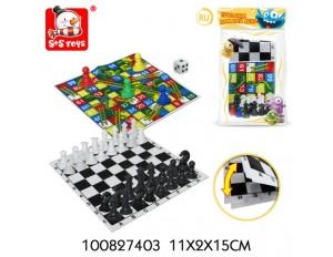 """Настольная игра """"Шахматы 2 в1"""", в пакете 11*2*15 см."""